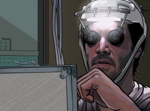 An image from A Scanner Darkly